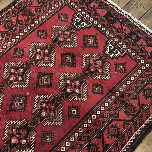 "Tribal Rug ""花ゴル紋章文様"" 203×118 ビンテージ手織り絨毯"