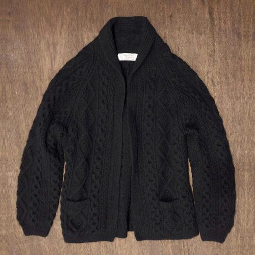 Athena Designs Fisherman knit Robe Black (アテナデザイン フィッシャーマン セーター ニット ローブ)ブラック アイルランド産