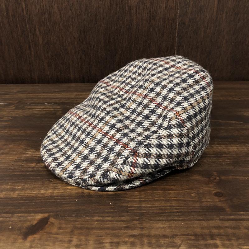Barbour Tweed Hunting cap(バブアー ツイード ハンチング キャップ)ライトブラウントラディショナルチェックカラー 7-1/4サイズ オリジナル ビンテージ