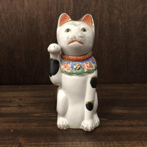 古瀬戸 招き猫 21cm 完品 ジャパン アンティーク オリジナル