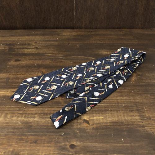 L.L.Bean Fly Fishing Pattern Neck Tie(エルエルビーン フライフィッシンング柄 ネクタイ)フライリール ロッドモチーフ ネクタイ ビンテージ オリジナル