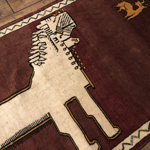 Lion Gabbeh ライオン ギャッベ ラグ 大きな白いライオンと鹿がデザインされた手織りによるギャッベ・絨毯・ビンテージラグ