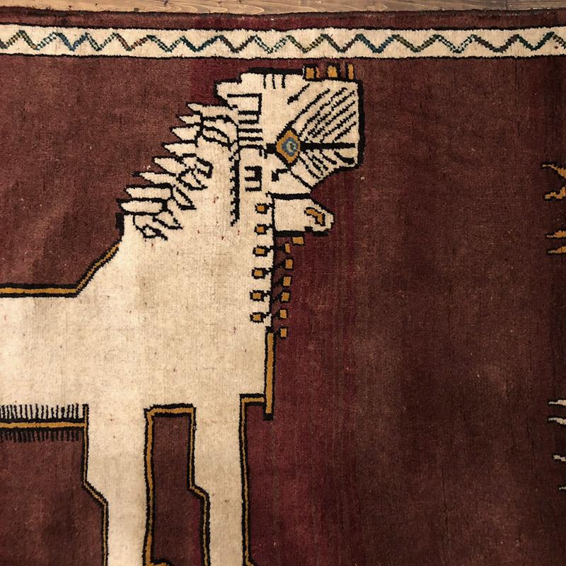 "Lion Gabbeh ""白いライオンと鹿"" 198×92 ライオンギャッベ"