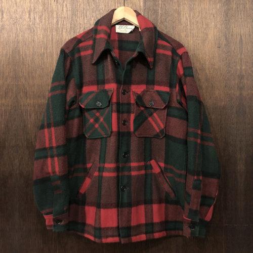 L.L. Bean Wool Check Jacket Green Red 筆記体タグ エルエルビーン ウール チェック アウトドア ジャケット ビンテージ