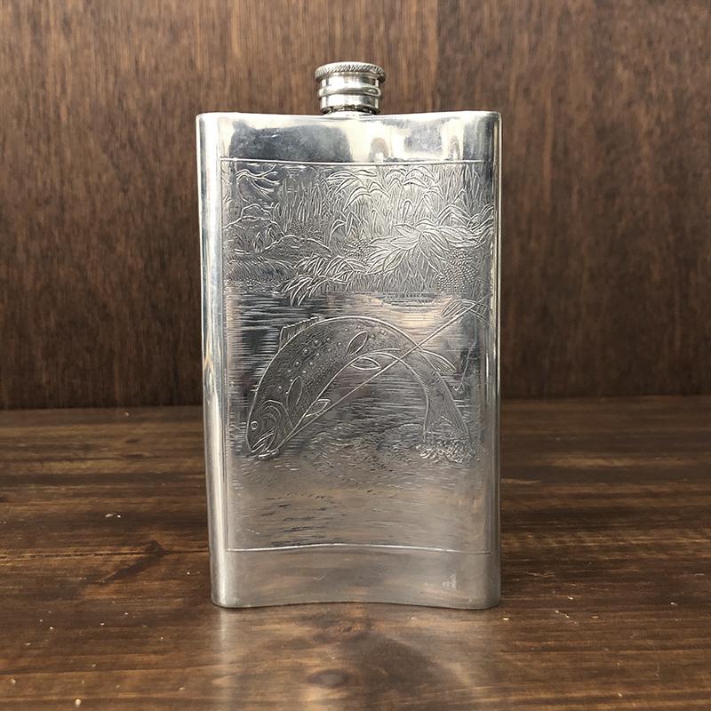 Orvis Flask Skittle Made by Sheffield 8oz オービス シェフィルド メイド フラスク オービスデザインカービング ピュータースキットル
