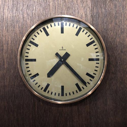 Siemens Copper Metal Case Wall Clock シーメンス コッパーメタルケース ウォール クロック クォーツ改装品 ビンテージクロック 壁掛け時計