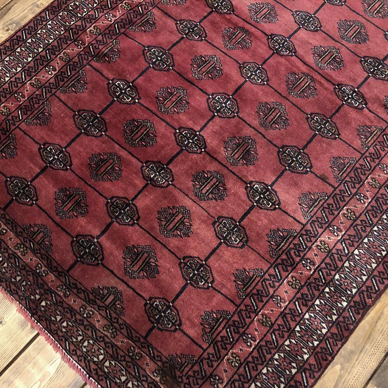 Tribal Rug トライバルラグ ワインレッドベースの紋章文様デザイン ビンテージ 手織り絨毯 ラグ