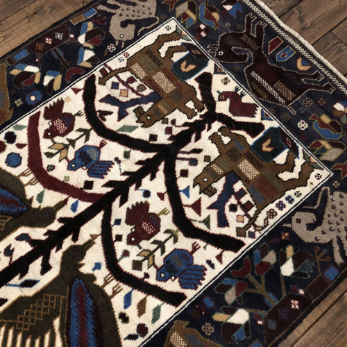 Tribal Rug トライバルラグ 繁栄の象徴である大樹と動物の文様デザイン ビンテージ 手織り絨毯 ラグ