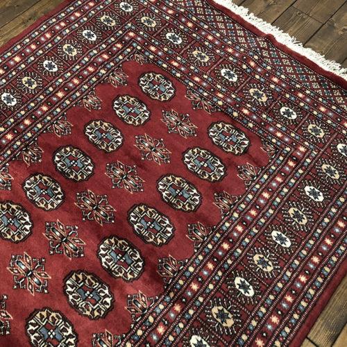 Tribal Rug トライバルラグ レッド×ターコイズブルーのギュル文様デザイン ビンテージ 手織り絨毯 ラグ