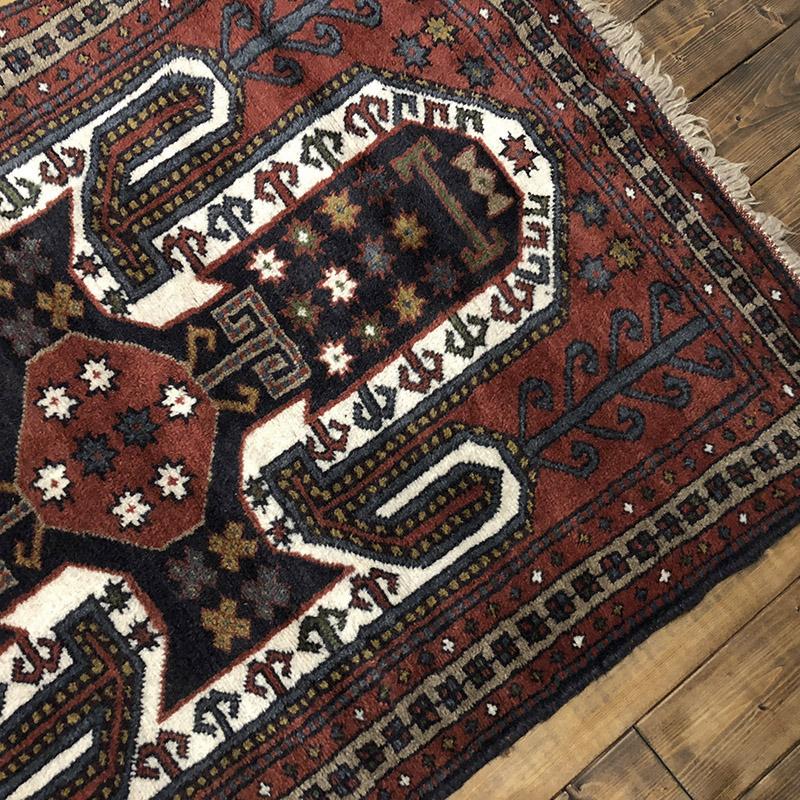 Tribal Rug トライバルラグ レッド×濃紺×白の大きなクレスト文様デザイン ビンテージ 手織り絨毯 ラグ