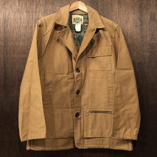 Ideal Vintage Hunting Jacket Mastard Animal pattern Deadstock イディール 社 ビンテージ ハンティング ジャケット ダック生地 マスタードカラー 動物柄ネルインナー デッドストック品