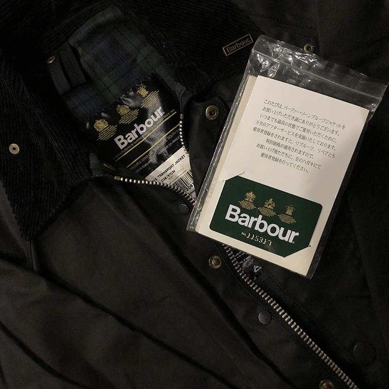 Barbour Transport Jacket Black C38 Dead Stock With Guarantee Card バブアー トランスポート ジャケット サイズ38 ブラックカラー 英国製 Made in England オリジナルギャランティカード 説明書付属