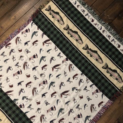 Goodwin Weavers Cotton Blanket Fly Fishing Trout & Fly Pattern グッドウィン ウェーバーズ コットン ブランケット フライフィッシング トラウト フライパターン柄 ビンテージ グッドコンディション