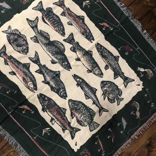 Goodwin Weavers Cotton Blanket Fishing Game Fish Rod Lure Pattern グッドウィン ウェーバーズ コットン ブランケット フィッシング ゲームフィッシュ ロッド ルアー柄 ビンテージ グッドコンディション