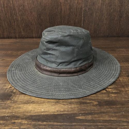 Barbour Wax Wide Brim Bush Leather Band Hat Olive M バブアー ワックス ワイドブリム ブッシュハット オリーブカラー Mサイズ オリジナル ビンテージ