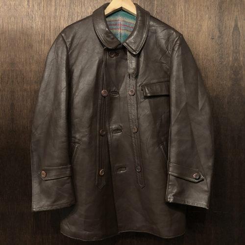 GVF Graulhet Le Corbusier Type Double Breasted Leather Jacket Mint コルビジェタイプ ダブルブレステッド レザージャケット ブラウン フランス国営電力支給 フランス製 ビンテージ ミントコンディション