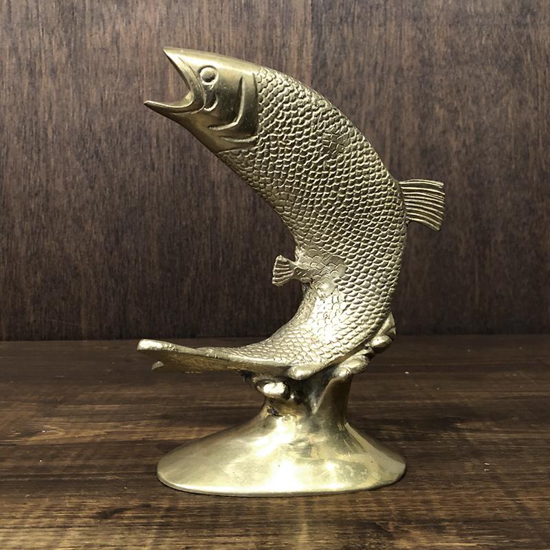 Jumping Trout Brass Trophy Desk Ornament ジャンピングトラウト モチーフ 真鍮製 デスクオーナメントオブジェ ビンテージ トロフィー