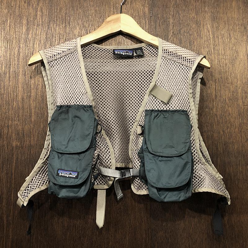 Patagonia Minimalist Old Mesh Fishing Vest L/XL パタゴニア ミニマリスト メッシュベスト オールドデザインタイプ グリーン サンドメッシュ フィッシングベスト