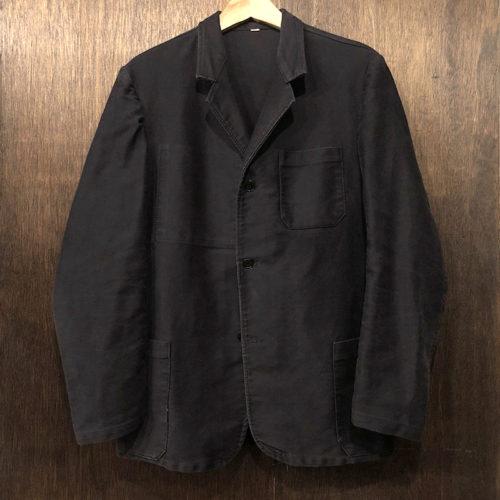 Dubure & Deverchere Black Moleskin Lapel Tuck Martingal Jacket デュビュール エ ドゥヴェルシェール フレンチ ブラックモールスキン ジャケット ラペルタイプ タックマルタンガルバック ビンテージ Made in France