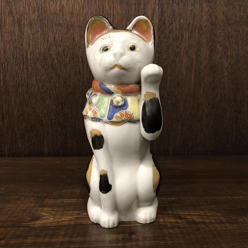 招き猫 古瀬戸 左招 23cm 当時物 骨董品 ジャパン アンティーク オリジナル