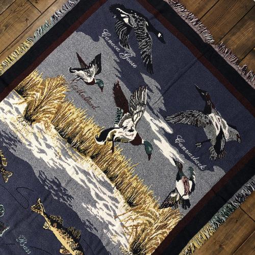 Goodwin Weavers Cotton Blanket Game Fish & Birds in Wild Life 175/128 グッドウィン ウェーバーズ コットン ブランケットフィッシング フィッシュ バード 柄 ビンテージ