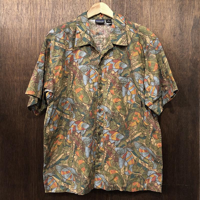 Patagonia Organic Cotton Outdoor Short Sleeve Shirts Fish Leaf M Mint パタゴニア オーガニック コットン ショーツスリーブ アウトドアシャツ フィッシュリーフ柄 S99 デッドストックコンディション品