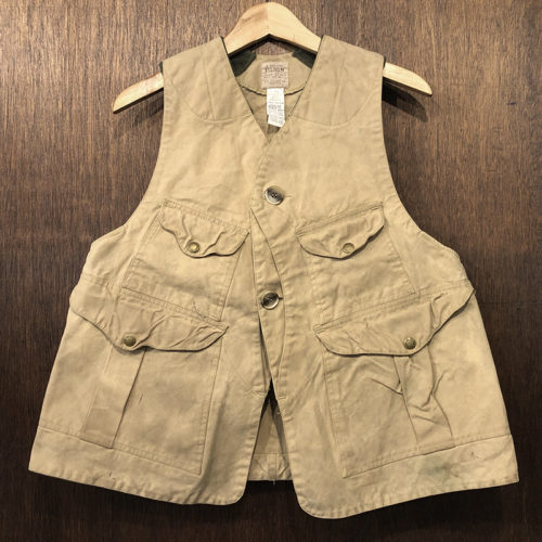 Filson Wax Tin Cloth Original Hunting Vest Early Model Tan M フィルソン ワックスド ティンクロス オリジナル ハンティング ベスト タンカラー 初期 オリジナル